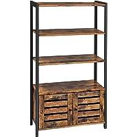 VASAGLE Boekenkast , ladenkast, industriële design boekenkast met 3 planken, 2 lamellen deuren, woonkamer, studeerkamer, slaapkamer, 70 x 30 x 121,5 cm, vintage LSC75BX