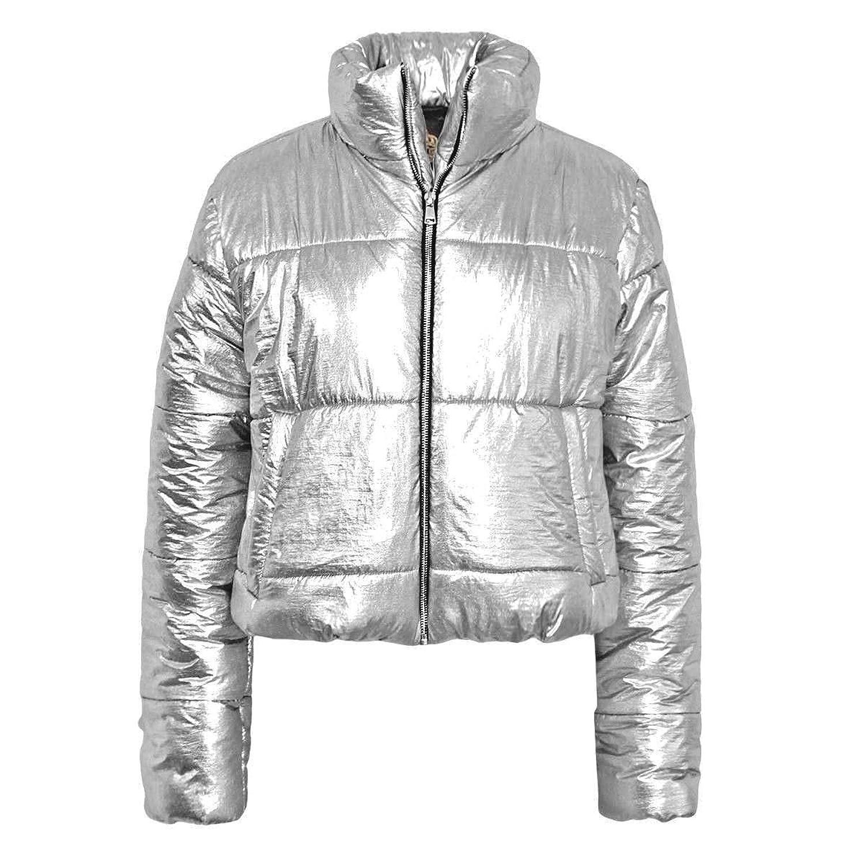 0cf76747bc8 FLIRTY WARDROBE Womens Wet Look Cropped Jackets Coat Ladies Padded Bomber  Bubble Puffer Short UK