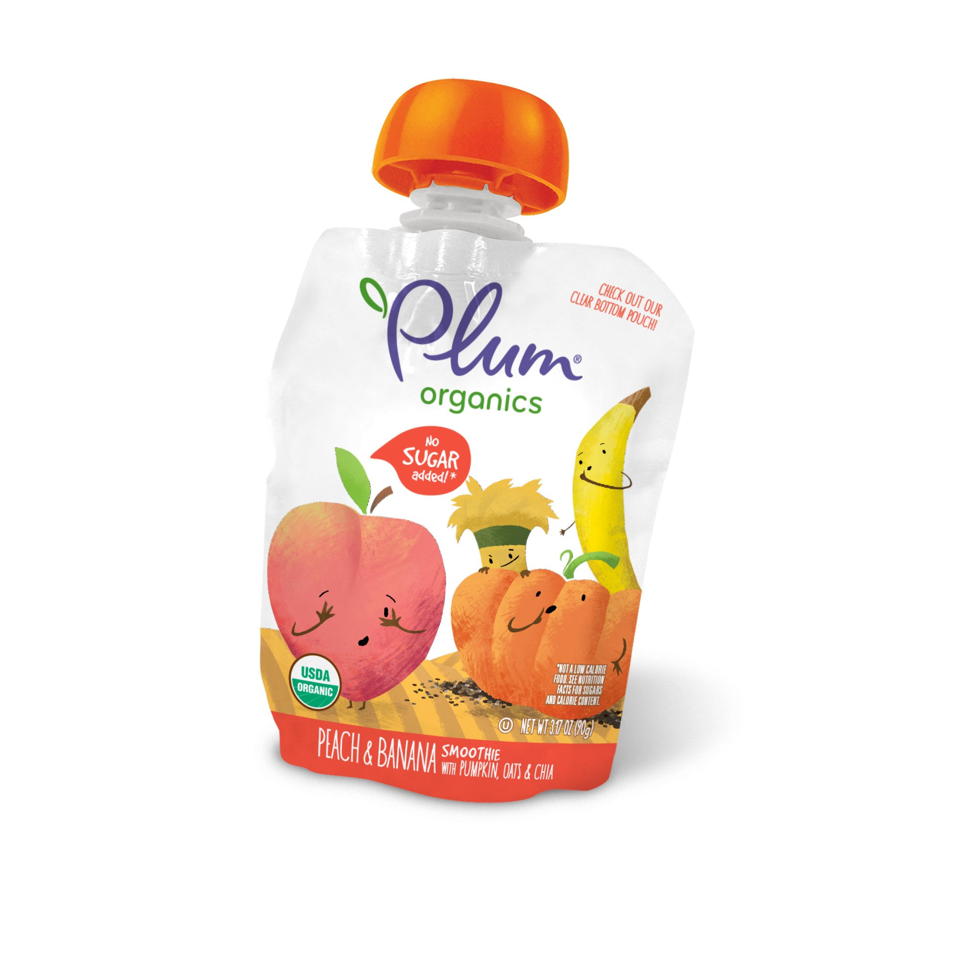 Plum Organics Smoothie, Organic Kids Applesauce, Peach and Banana with Pumpkin, Oats & Chia, 3.17 ounce pouches, 4 count (Pack of 6)