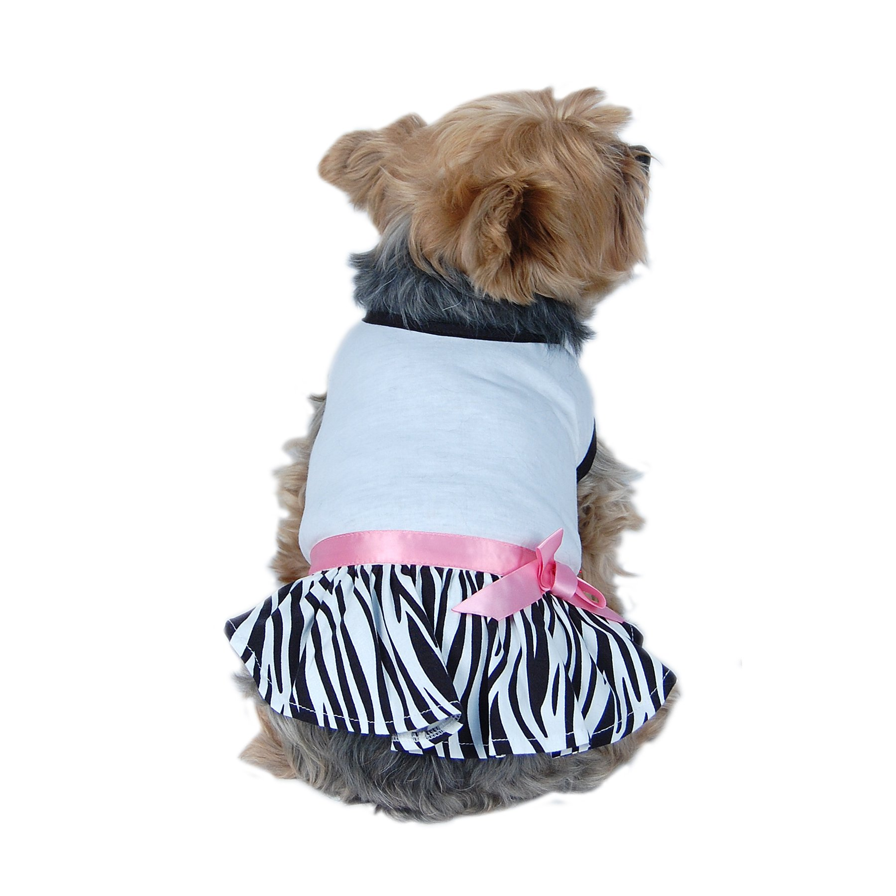 Dog Zebra Dress with White Cotton Top, (For Small Dogs) (XX-Small)
