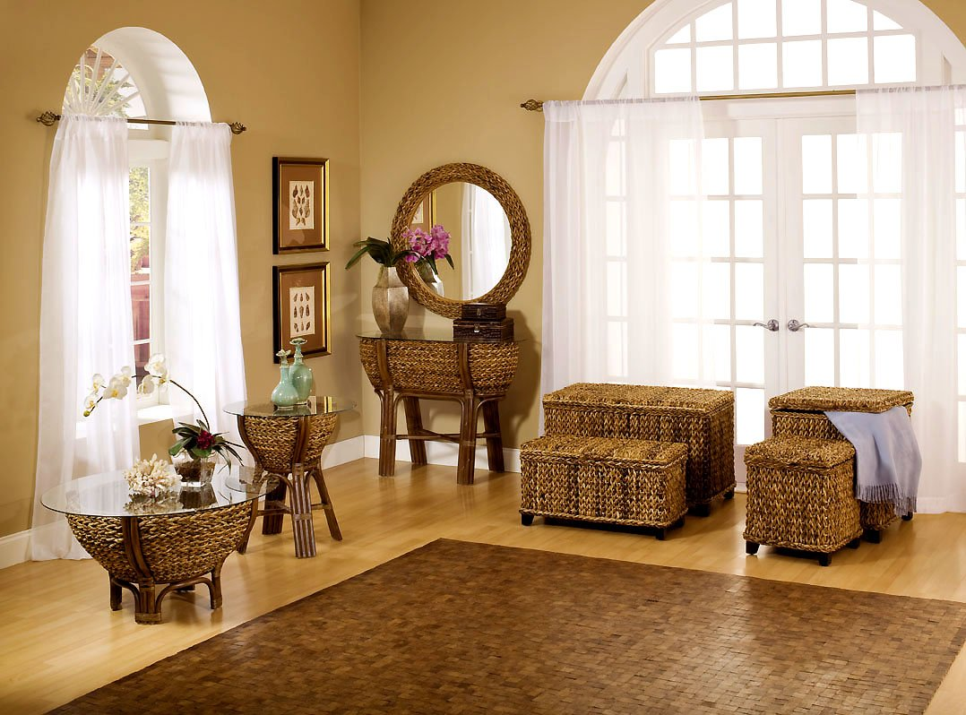 Set of 2 Tropical Wicker Rattan Trunks for any room of your home- Maui by Seawinds Trading