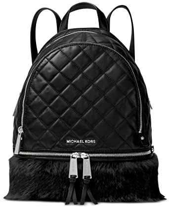 1186aff889c1 MICHAEL Michael Kors Rhea Zip Quilted Leather Medium Fur Backpack in Black:  Amazon.co.uk: Clothing