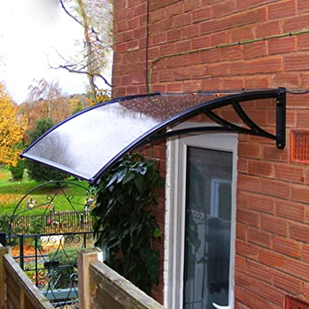 Yaheetech 120 x 76 cm Door Canopy Awning Roof Front Window Porch Cover Outdoor Rain Shelter Shade Patio Black Amazon.co.uk DIY u0026 Tools : external door canopy - afamca.org