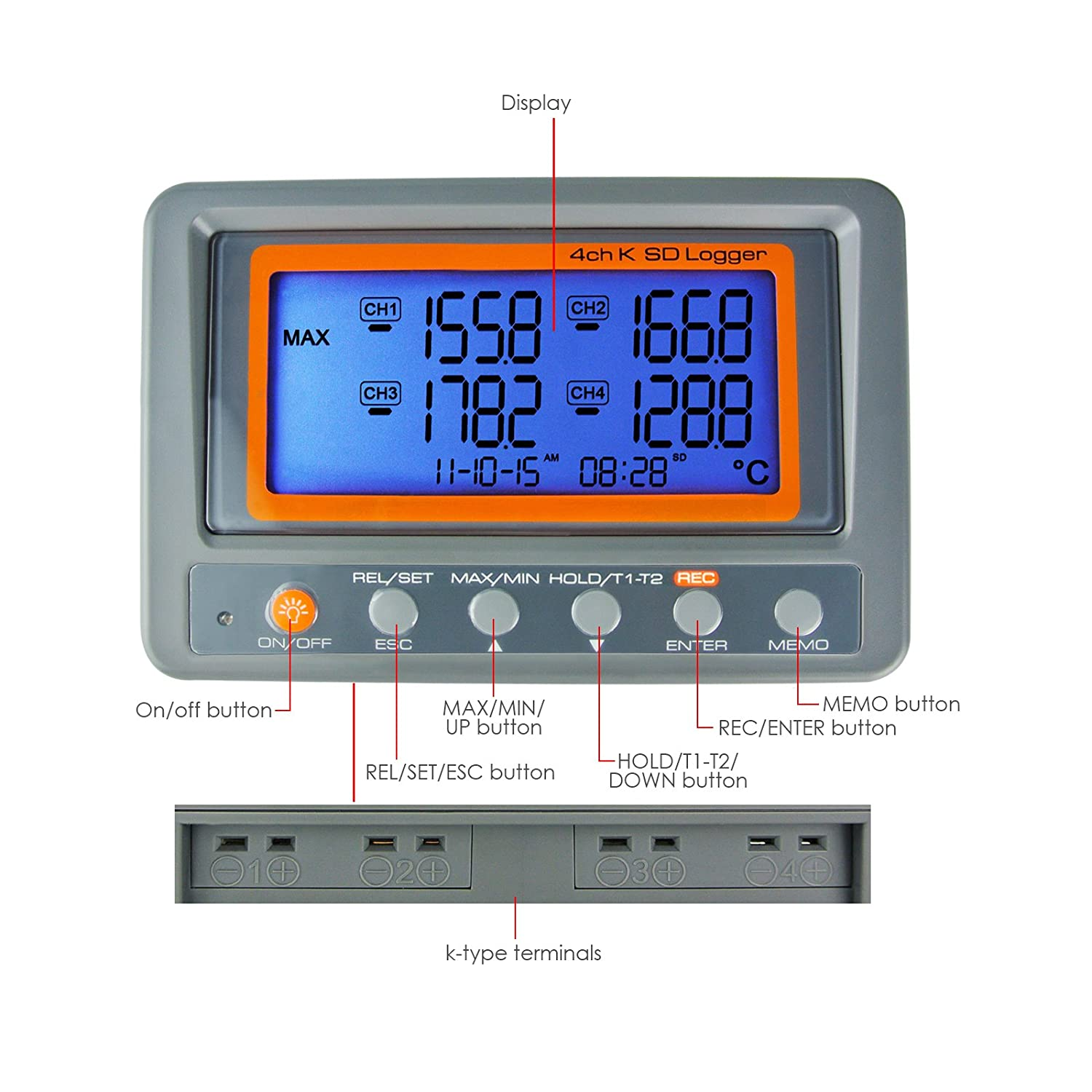 4 Channel K Type Thermometer SD Card Datalogger Thermocouple Temperature With Beeper And LED Alarm 2 K-Thermocouple Probe