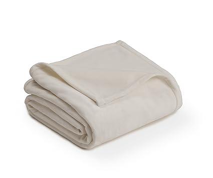 PLUSH BLANKET BY VELLUX Twin Heavyweight Micromink Warmest Bedspread Pet Friendly Bed Bedspread Winter Ivory