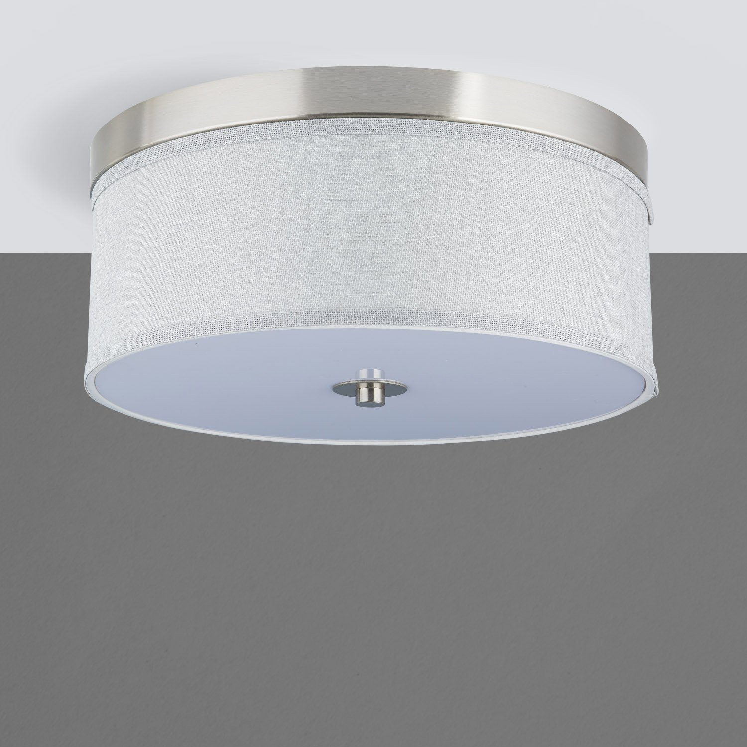 Occhio 15-Inch Heather Gray Two-Light Close to Ceiling Drum Light ...