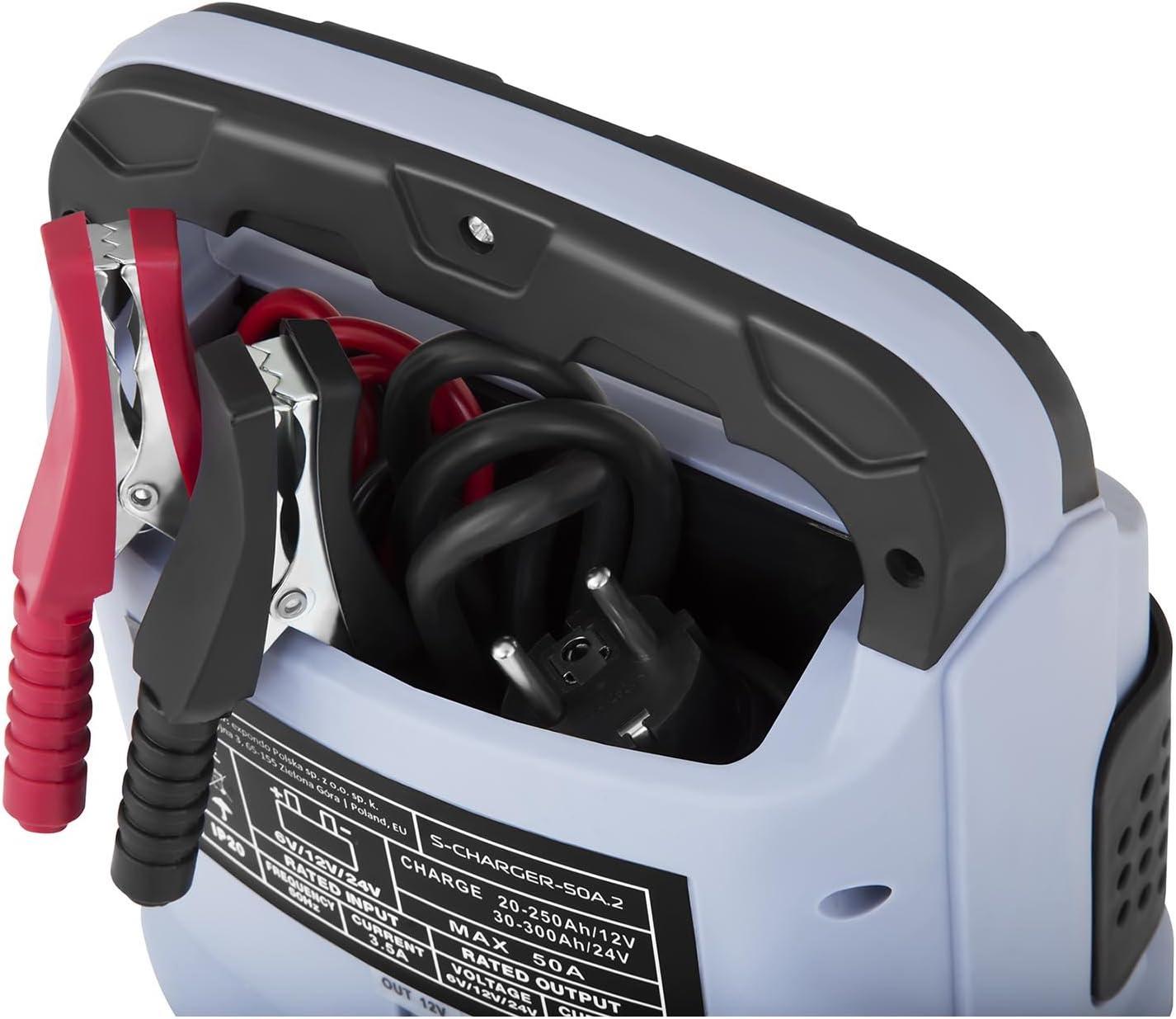 6//12//24 Volts, 15//20 amp/ères, accumulateur au Plomb MSW Chargeur de Batterie Auto Aide au D/émarrage pour la Voiture S-CHARGER-30A