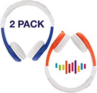Kids Headphones by Onanoff, Explore Foldable Model: Foldable, In Line Mic, Detachable Cable – 2 Pack - Blue, Pink – volume limiting lock – housing adjustable – built in headphone splitter – super durable – for iPad, comp