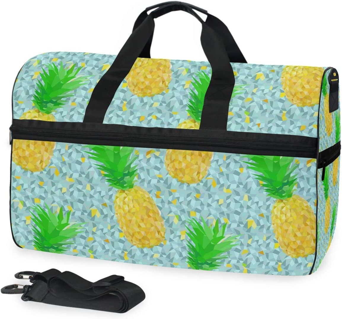 Gold Pineapple Sports Gym Bag with Shoes Compartment Travel Duffel Bag for Men and Women