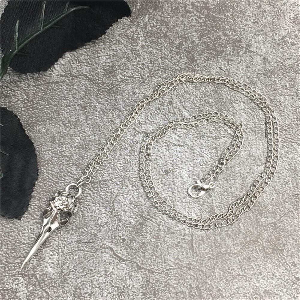 Accesorios Colgante, Collar de la Bruja Collar gótico del Cuervo del cráneo Collar Colgante Cuervo Negro Regalo (Metal Color : Silver Plated)