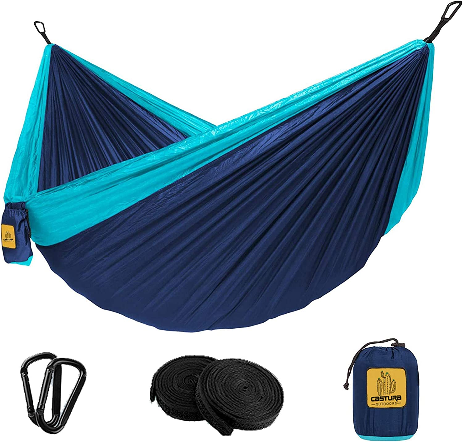 Castura Camping Hammock Double /& Single with Tree Straps,Portable Hammocks for Indoor Outdoor Backpacking Survival Travel Beach Hiking