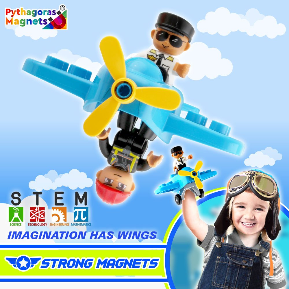 Flying Helicopter Toy Police Set with Magnets Flying Magnetic Plane - Policeman Toys Add on Sets for Magnetic Blocks - Magnetic Tiles Expansion Kids Educational STEM Learning Toys for Boys and Girls by Pythagoras Magnets (Image #5)