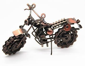 DRFUNDA Soldadura de hierro forjado creativo Modelo de la motocicleta Moto moderna colección decoración casera para los amantes del manómetro (Style A): ...