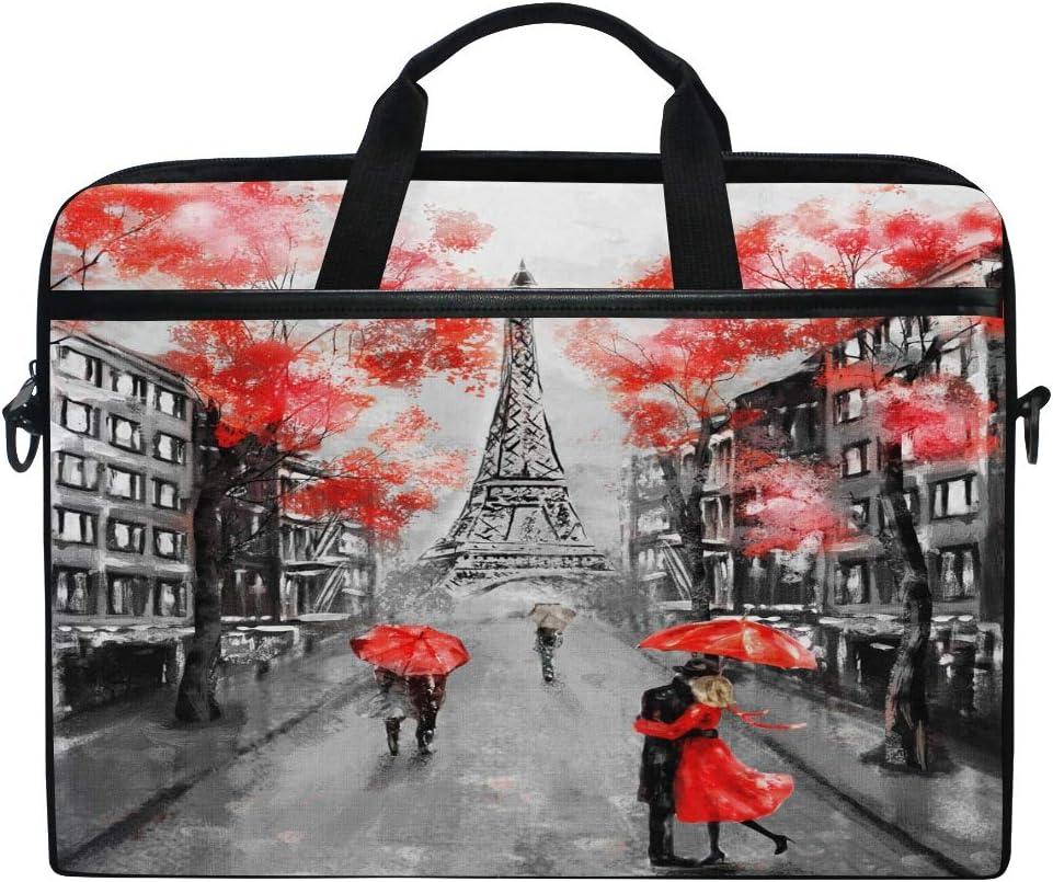 WXLIFE Paris Vintage Eiffel Tower 13 13.3 14 Inch Laptop Shoulder Messenger Bag Case Sleeve Briefcase with Handle Strap for Men Women Boys Girls