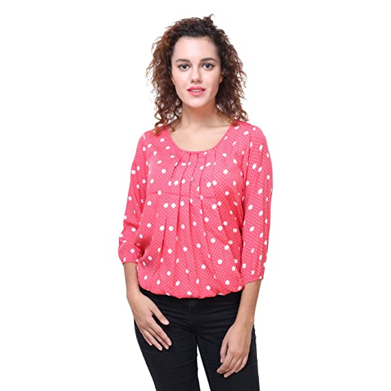 bae78e69f0eba0 Deewa Pink Polka Dots Top (Small)  Amazon.in  Clothing   Accessories