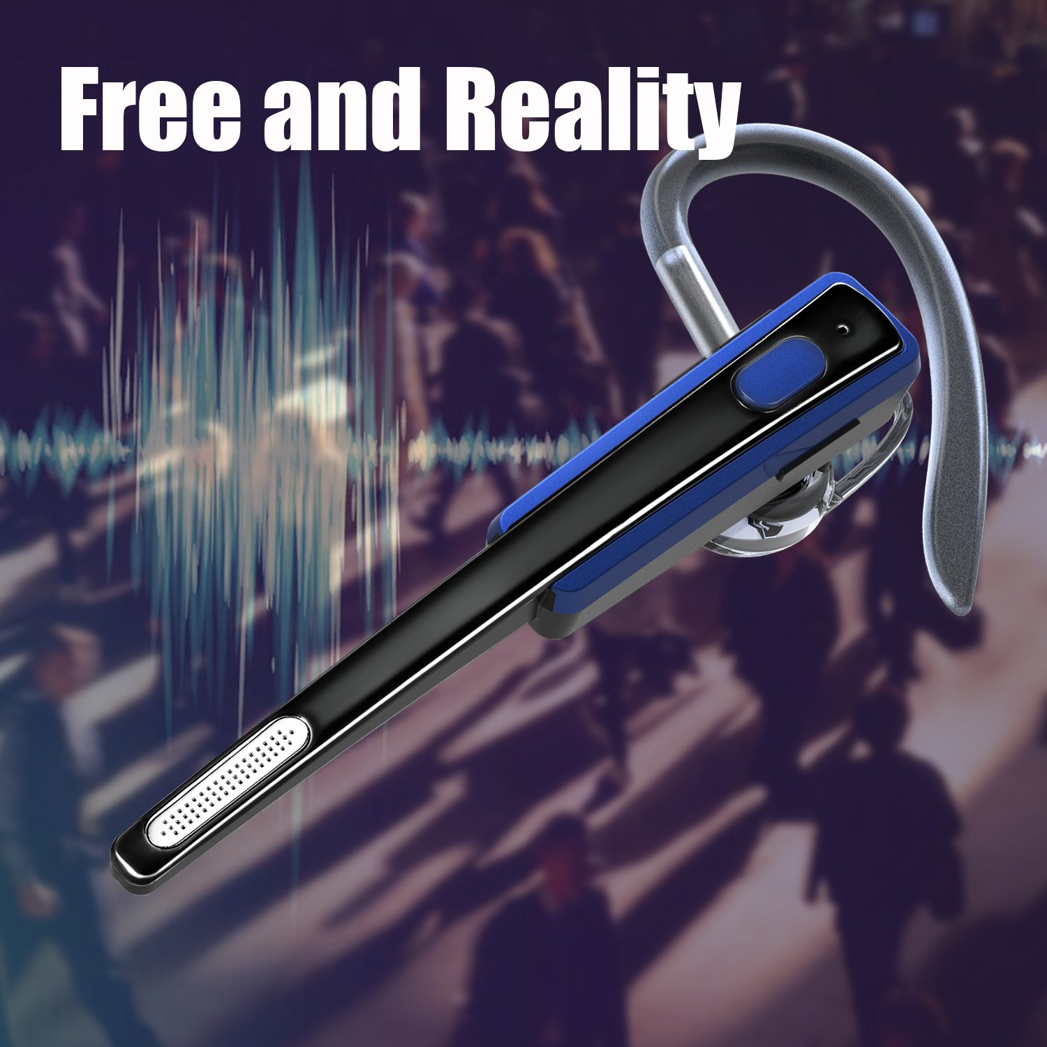 Bluetooth Headset, Wireless Earphones V4.1 Lightweight Sweatproof Headphones with In-ear Earbuds, Noise Cancelling Mic and Hands-free Calling for Iphone, Android Cellphones