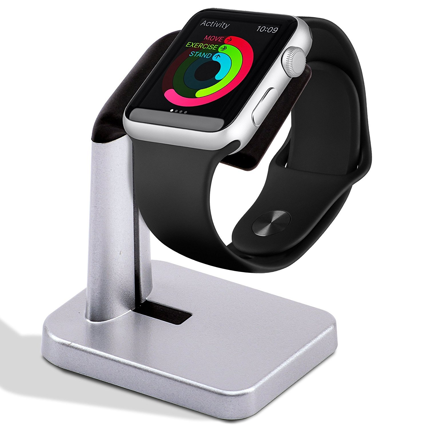 A'O Watch Charger Station Compatible with Apple Watch Charging Dock,iWatch holder stand for smart watches series 38/42mm. Silver black color station, cable not included. Antislip Platform.