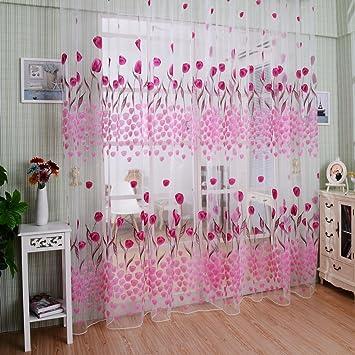 Amazon.com: Elegant Sheer Curtains,Romantic Home Decor Top Grommet ...