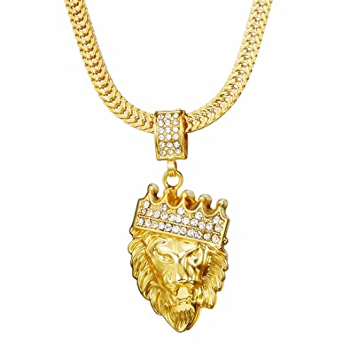 Mens necklace gold necklace mens gold plated lion king pendant mens necklacegold necklacemens gold plated quotlion kingquot pendant necklace aloadofball Image collections