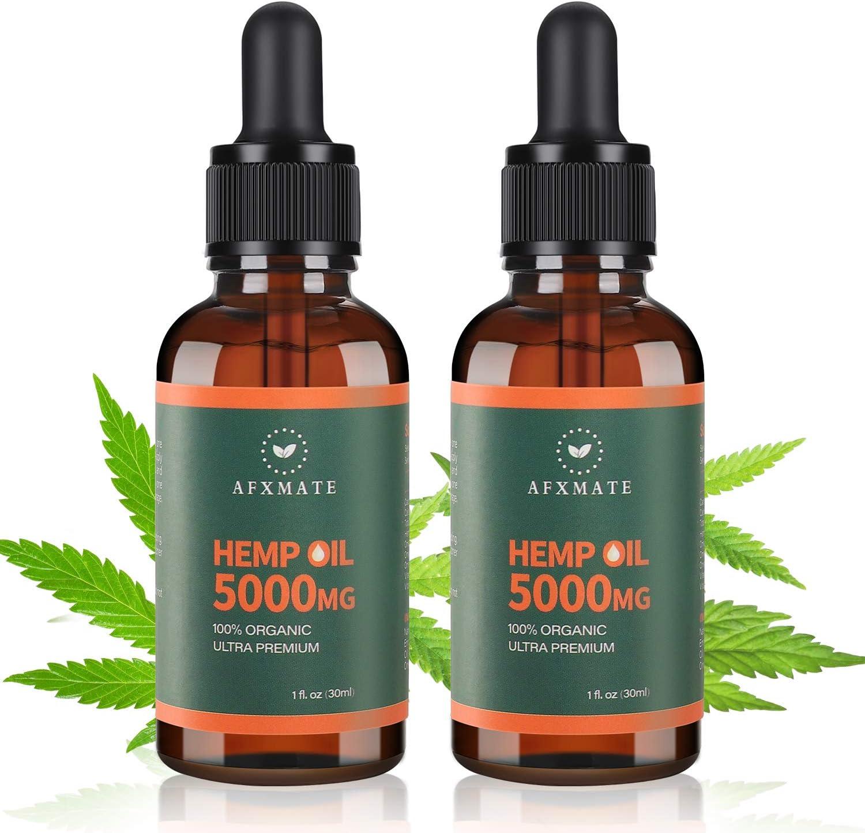(2 Packs) Hemp Oil 5000 MG, 100% Natural Hemp Extract - Rich in Vitamin & Omega, Helps with Pain & Anxiety Relief, Sleep, Skin & Hair, Improve Health, Vegan Friendly