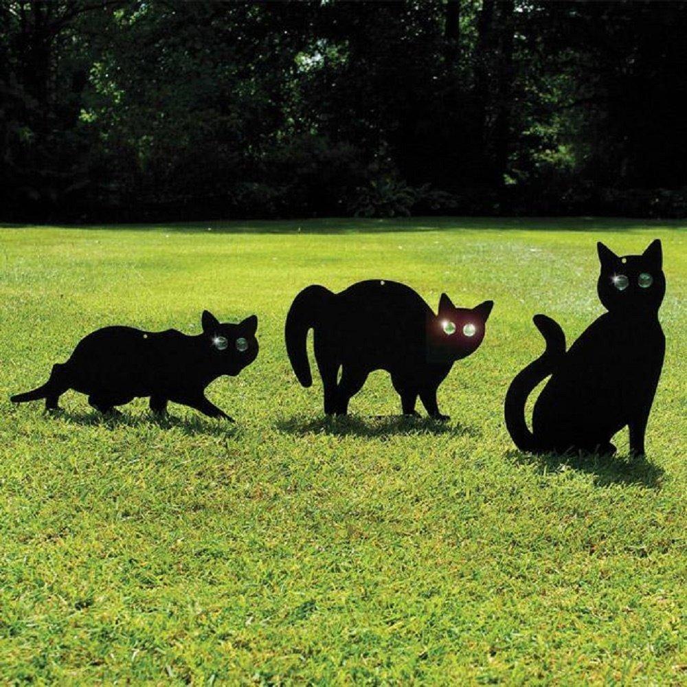 Garden Mile® Pack Of 3 Black Powder Coated Metal Cat (Bird, Animal,