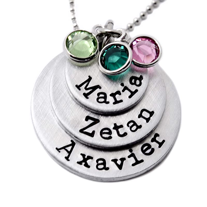 Gift for Mom Christmas \u2022 Birthstone Necklace \u2022 Mother Jewelry with Children Birth Months Crystals \u2022 Sterling Silver or Gold Filled Chain