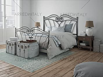 Arredinitaly Bett Doppelbett In Eisen Farbe Schwarz Graphit