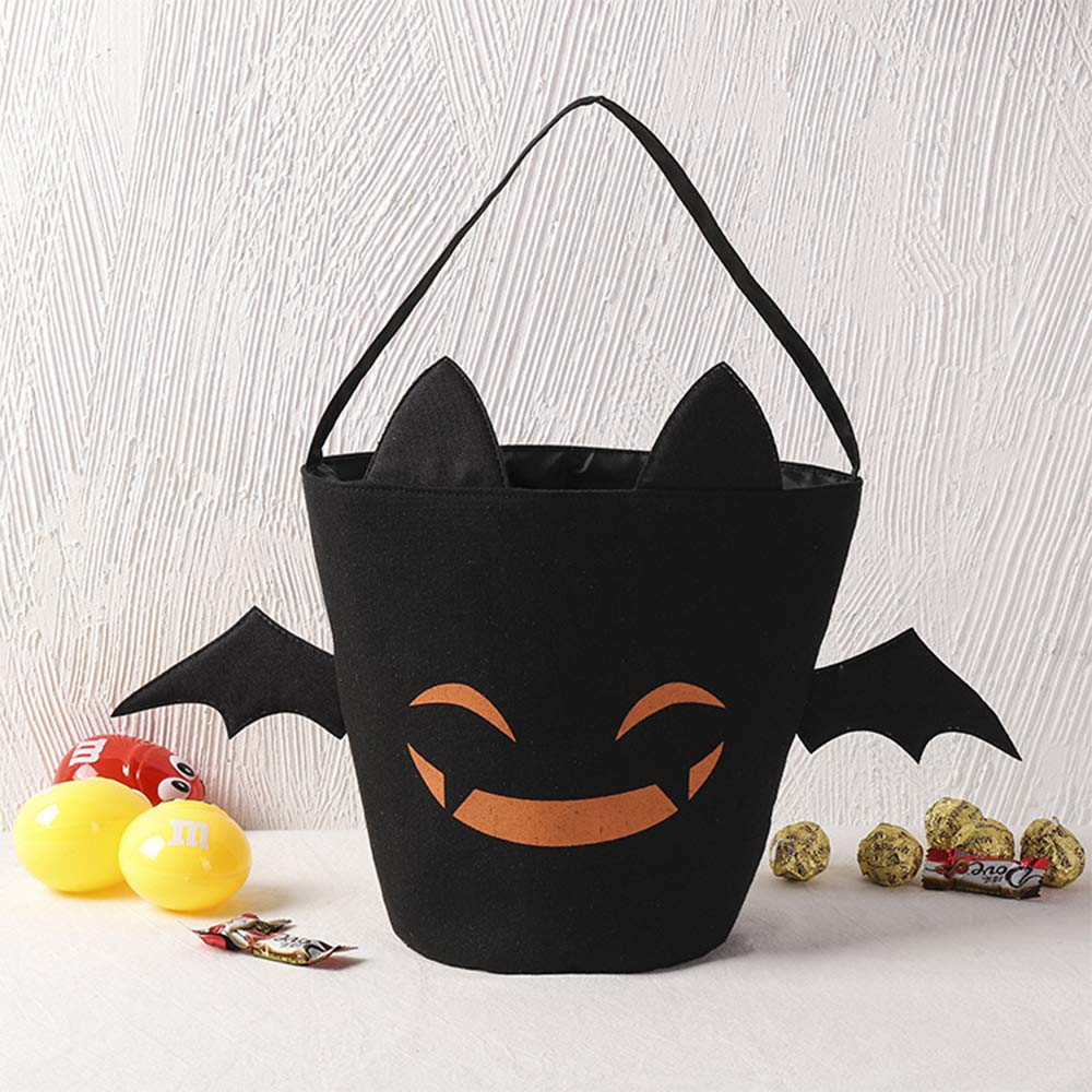 CAKKA Halloween Trick or Treat Bag, Protable Candy Bucket Tote Bag - Durable, Washbale, Double Layer - 400oz, Black by CAKKA