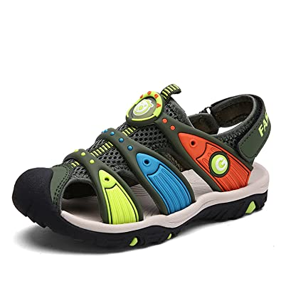 b82ed26a2dcbe Bigcount Boys    Girls  Outdoor Sport Closed-Toe Sandals Kids Velcro  Breathable Mesh Water Sandals Shoes  Amazon.co.uk  Shoes   Bags