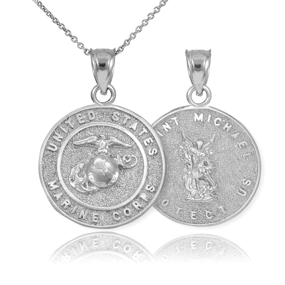 2504aa71804b01 Amazon.com: Sterling Silver St Michael Medal Protection Charm US Marine  Corps Reversible Pendant Necklace, 16