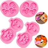 4 Pieces Halloween Candy Molds Silicone Skull and Pumpkin Chocolate Molds 3D Mini Fondant Baking Molds for Halloween…