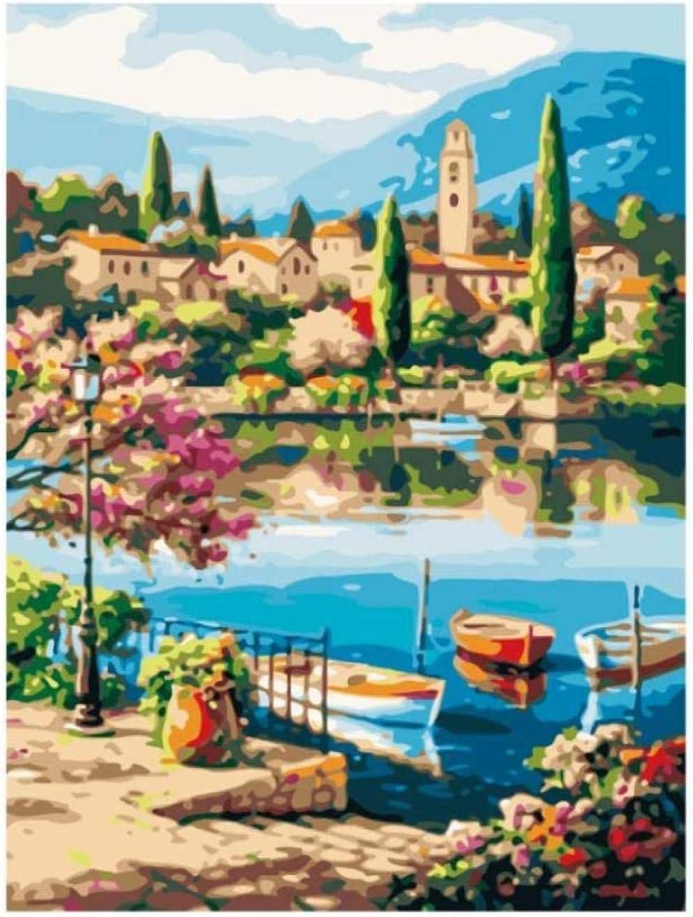 Diy pintura digital pintura digital ciudad lago diy pintura por números abstracto casa del barco pintura al óleo sobre lienzo árbol cuadros decoración acrílico arte de la pared regalo sin marco