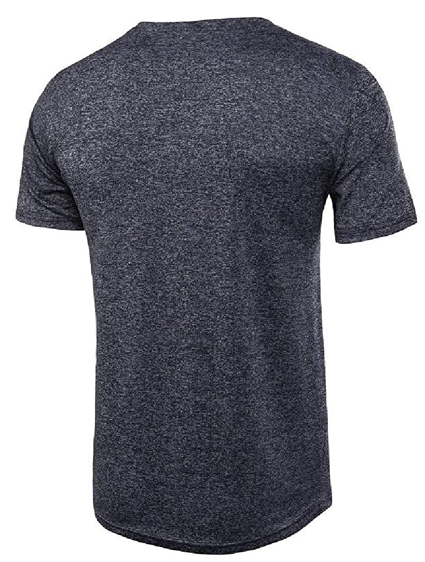 Domple Mens Solid Color Casual Short Sleeve Relaxed Fit T-Shirt Tee Top