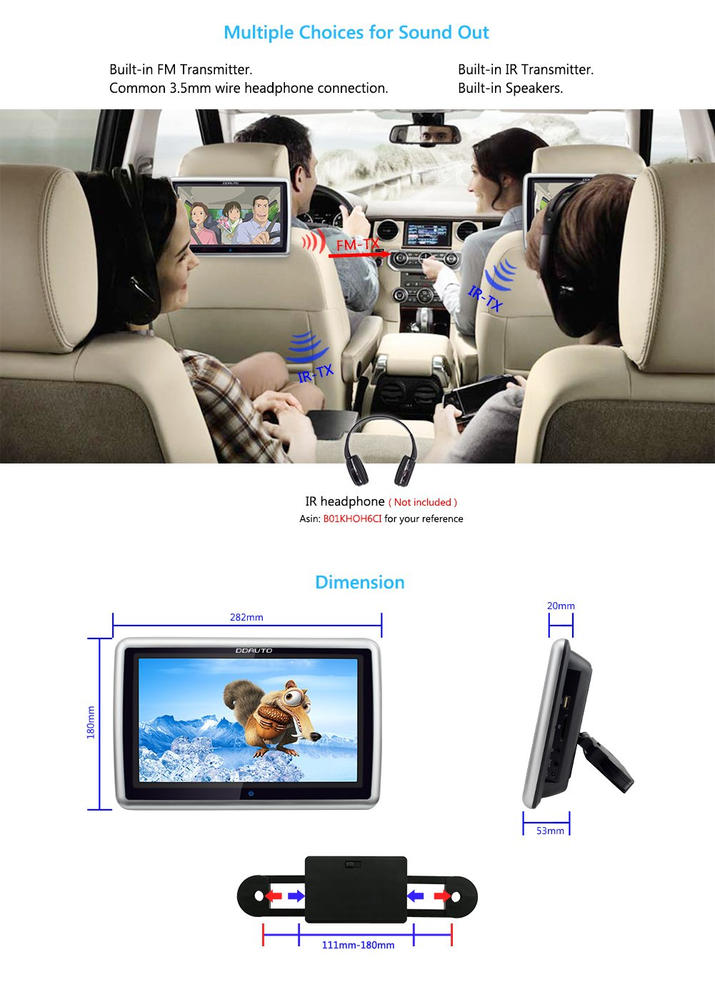DDAUTO Car Headrest DVD Player 10.1 Inch Touch Screen 1080P Multimedia Monitor with Suction Drive Supports CPRM DVD SD USB by DDAUTO (Image #5)