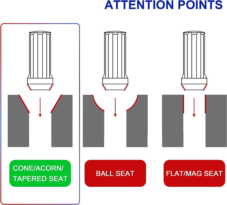 24Pcs+1Key M14x1.5 Black Thread Spline Lock Key Open End Lug Nuts 2 Tall 14mmx1.5 Wheel Lug Nuts