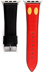 Sufcusny Leather Band Compatible with Apple Watch 44mm 42mm Series 5 4 3 2 1, Cute Cartoon Strap Women Girls Kawaii Wristband Bracelet Replacement, Mickey,Black/Red/Yellow
