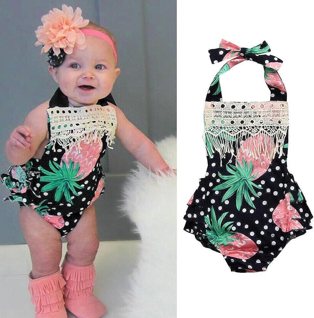 Styledress Baby Kleidung Set Strampler Overall Sommer Neugeborenes Baby M/ädchen Jungen Ananas Quaste Strampler Jumpsuit Outfits Spielanzug Kleider Set