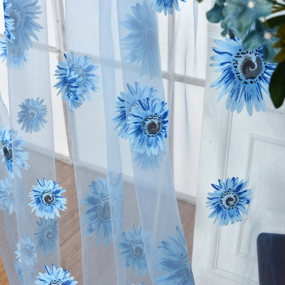 Window Curtains,yanQxIzbiu Sheer Curtain 100x200cm Sheer Sunflower Curtain Panel Home Decor Room Divider Valance Drape Blue