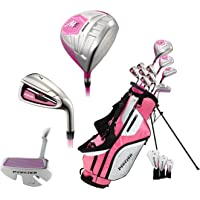 Precise M5 Ladies Womens Complete Right Handed Golf Clubs Set Includes Titanium Driver, S.S. Fairway, S.S. Hybrid, S.S. 5-PW Irons, Putter, Stand Bag, 3 H/C's Pink (Pink)