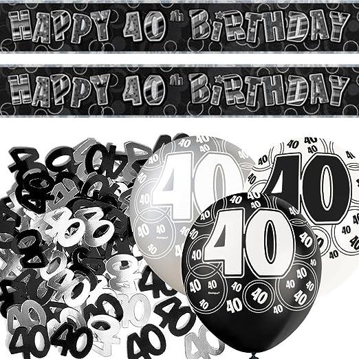 Black glitz 40th birthday party collection birthday wikii for 40th birthday decoration packs