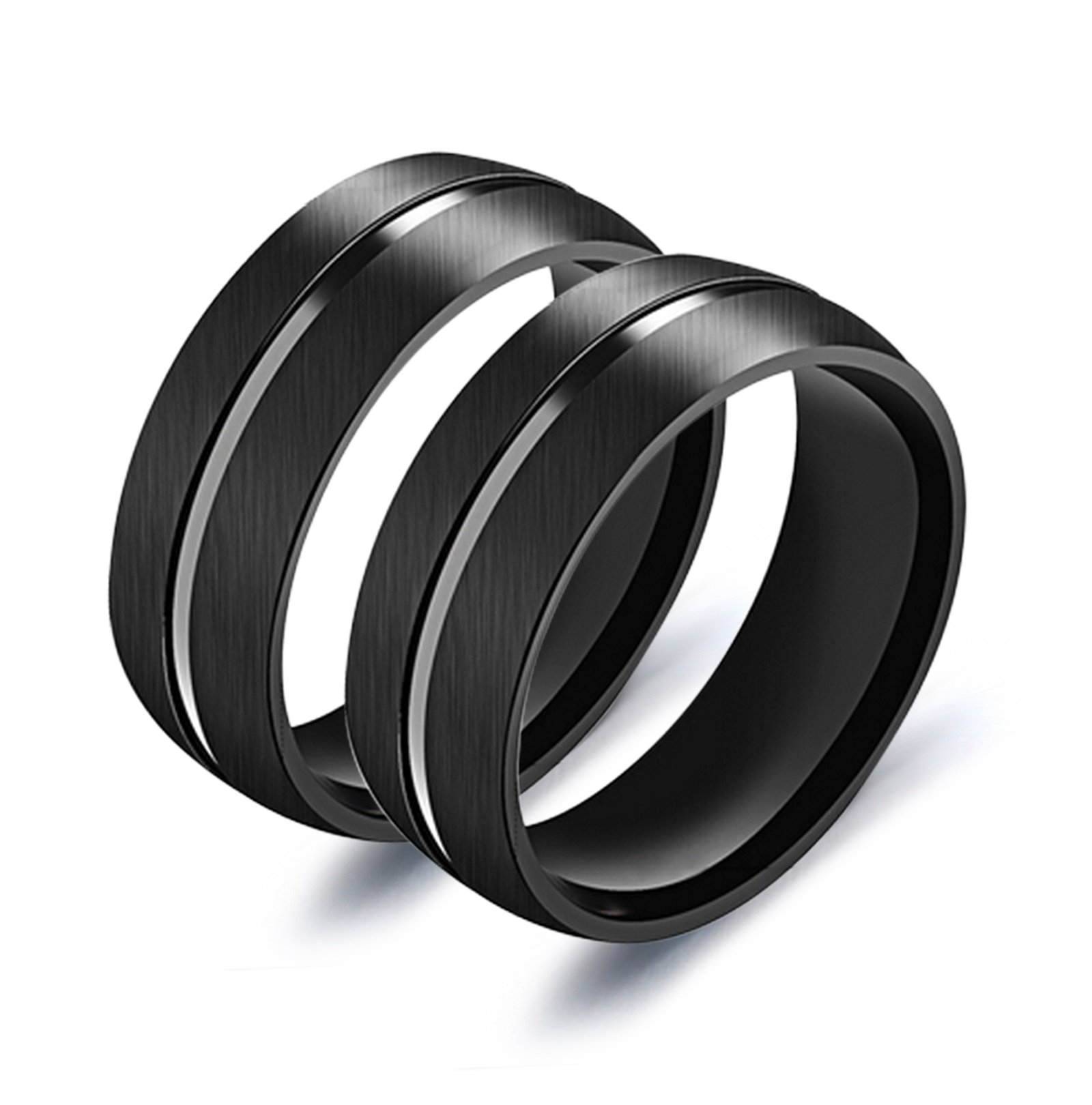 Bishilin 2 Pieces Gay Couple Ring Stainless Steel High Polished?Width?11MM?Round Eternity Wedding Black Size 8 + Size 8