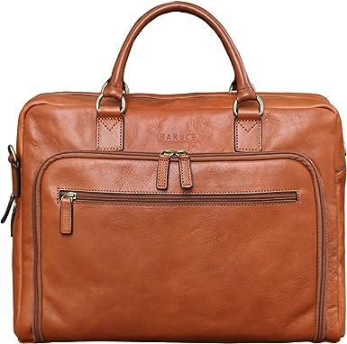 Vintage Leather Man Bag Business Briefcase Slim Attache Document Handbag Brown