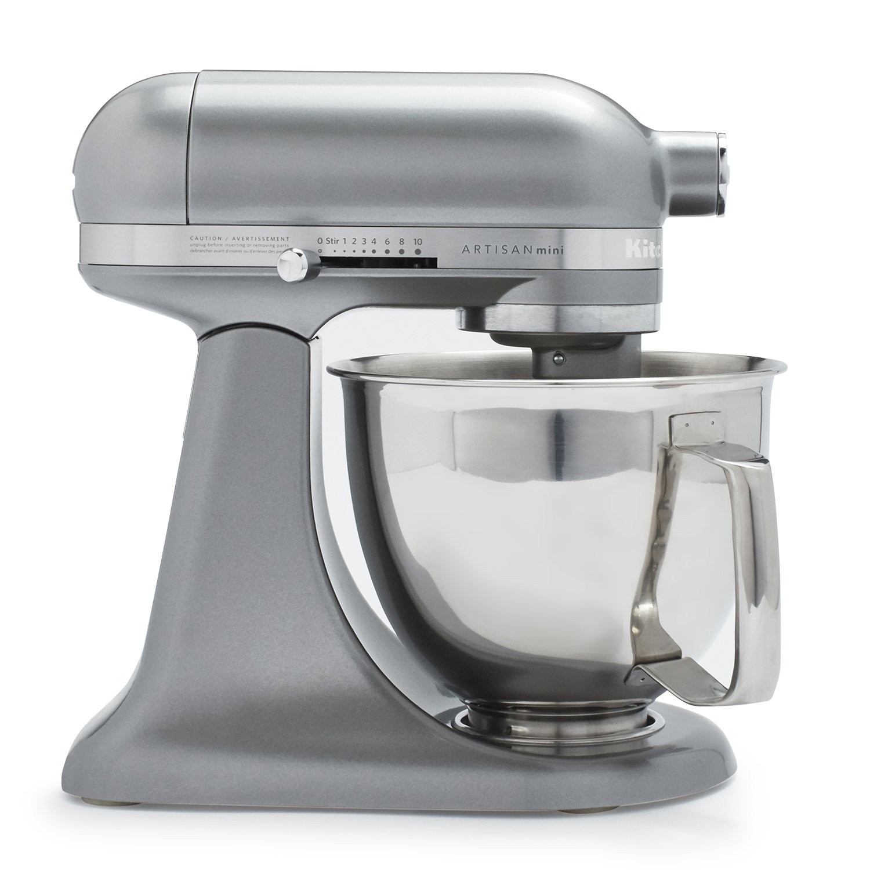 KitchenAid Artisan Mini Premium Tilt-Head Stand Mixer with Flex Edge Beater KSM3316XCU, 3.5 qt, Contour Silver