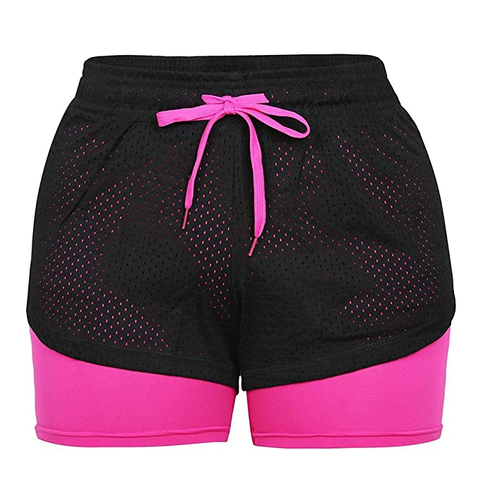Shorts deportivos para mujer con malla rosa flúor