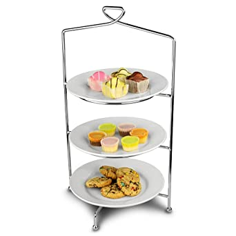 Utopia Savoy 3 Tier Cake Plate Stand 46cm with 23cm Plates - Afternoon Tea Stand by  sc 1 st  Amazon.com & Amazon.com: Utopia Savoy 3 Tier Cake Plate Stand 46cm with 23cm ...