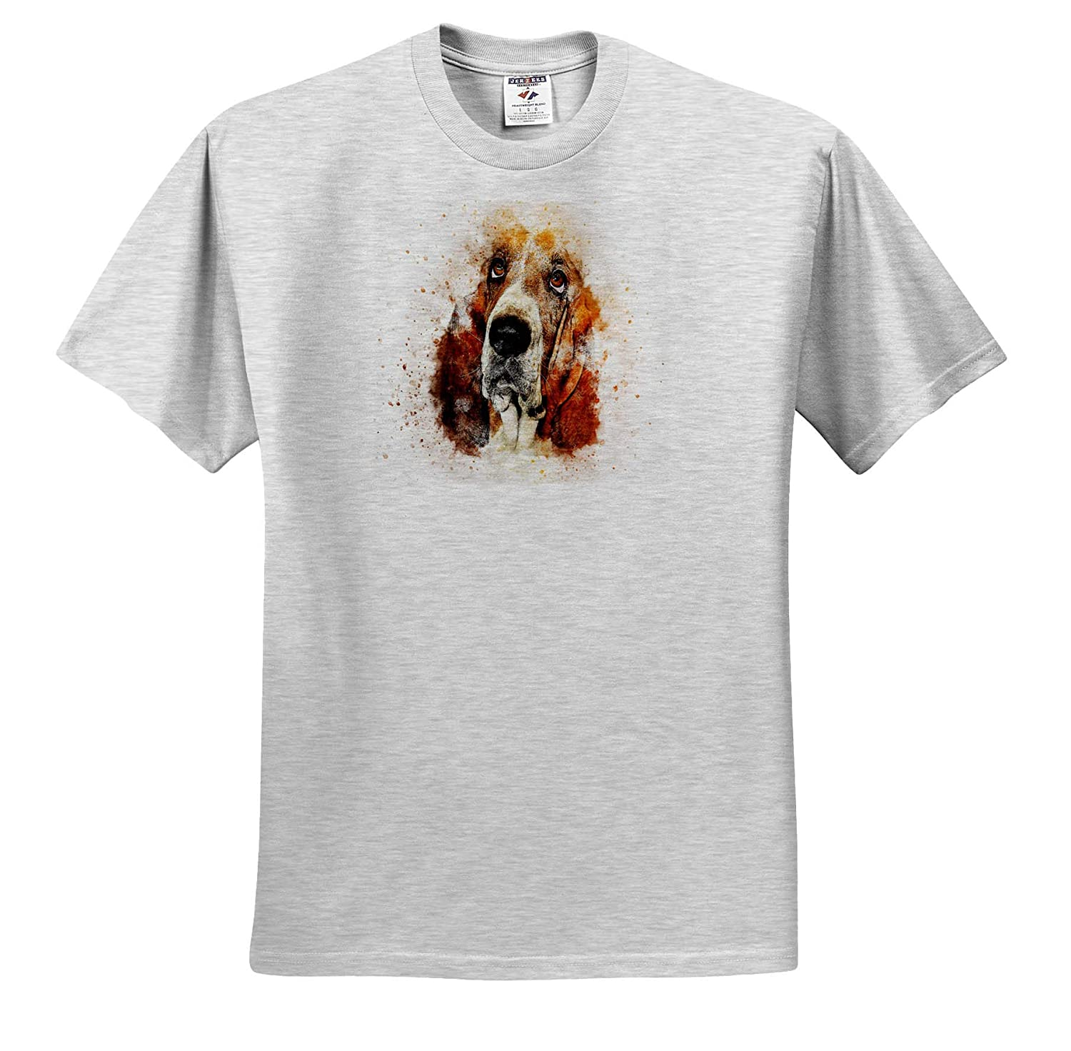 Watercolor Art 3dRose Lens Art by Florene T-Shirts Image of Basset Hound Portrait in Watercolors