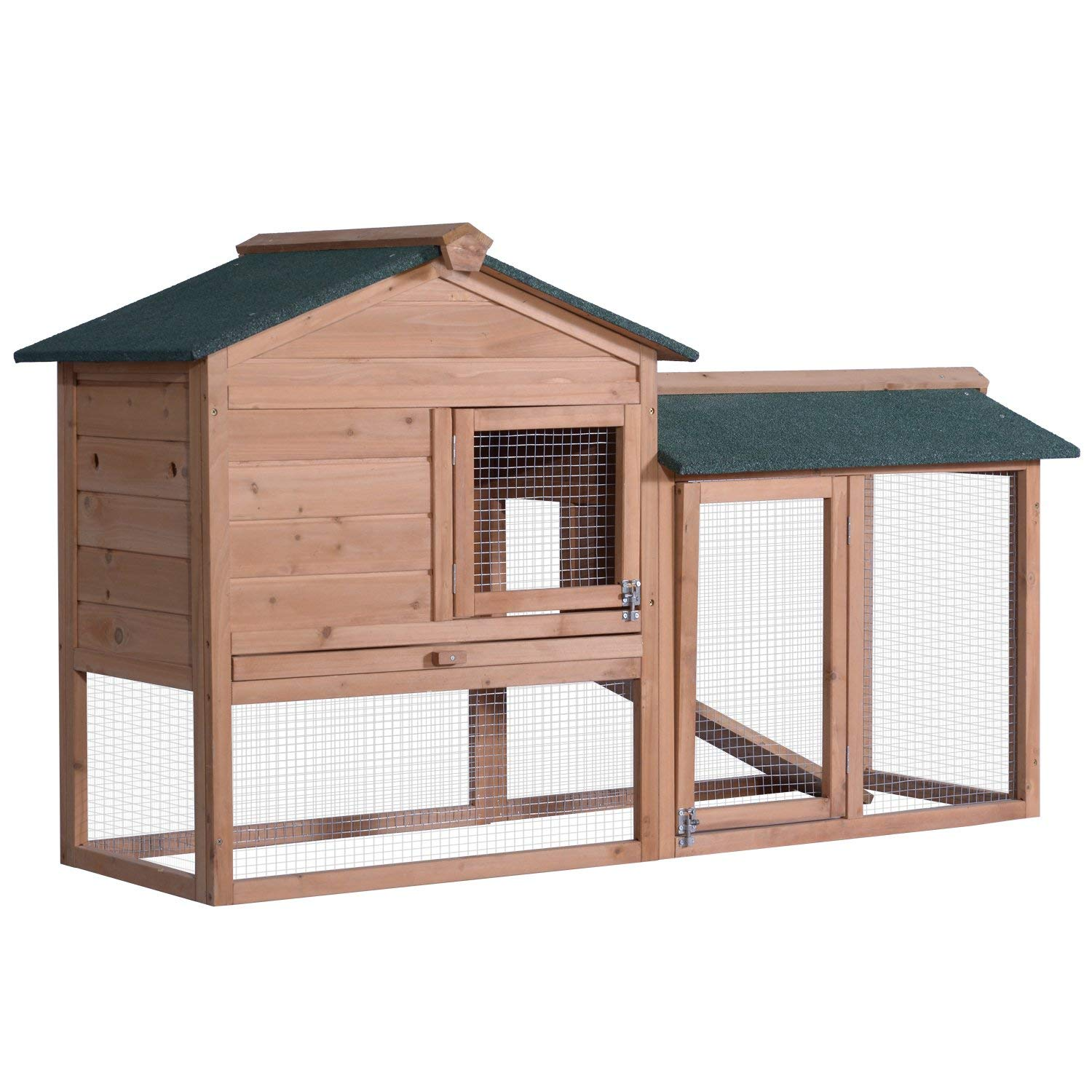 Lovupet 58'' Deluxe Wooden Chicken Coop Hen House Outdoor Backyard Garden Bunny Rabbit Hutch with Ventilation Door, Removable Tray and Ramp 1305 by Exacme