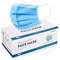 Disposable Face Masks Breathable Mouth Mask Protection 3 Ply Masks 50 PCS Indoor and Outdoor Use