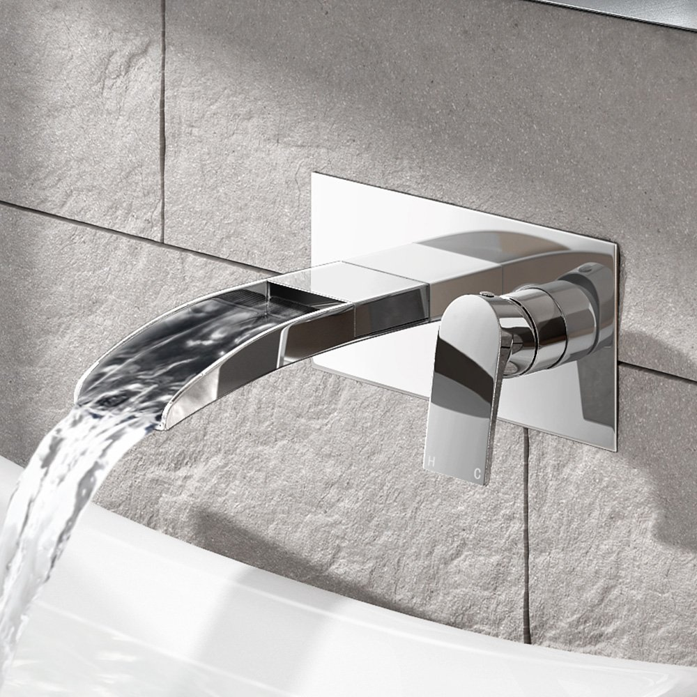 iBathUK | Wall Mounted Waterfall Basin Sink Mixer Tap Chrome Bathroom Faucet TB3202