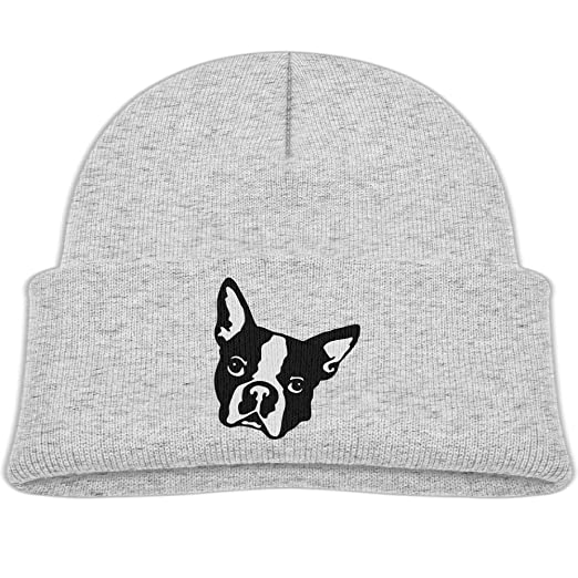 8cfc9fe5456 Amazon.com  Beanie Cap Boston Terrier Dog Head Soft Knit Hats Baby ...